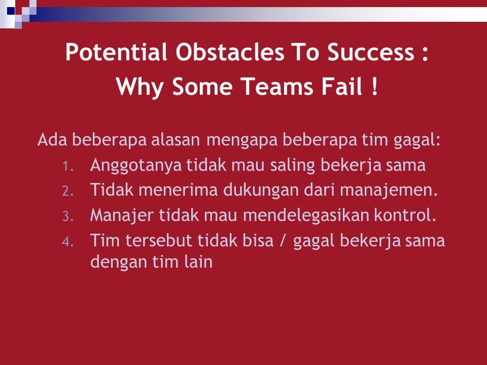 Potential Obstacles To Success : Why Some Teams Fail ! Ada beberapa alasan mengapa beberapa tim gagal: 1. Anggotanya tidak mau saling bekerja sama 2.