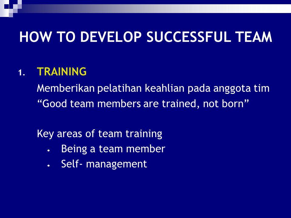 "HOW TO DEVELOP SUCCESSFUL TEAM 1. TRAINING Memberikan pelatihan keahlian pada anggota tim ""Good team members are trained, not born"" Key areas of team"