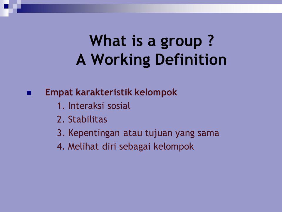 What is a group ? A Working Definition Empat karakteristik kelompok  1. Interaksi sosial  2. Stabilitas  3. Kepentingan atau tujuan yang sama  4.