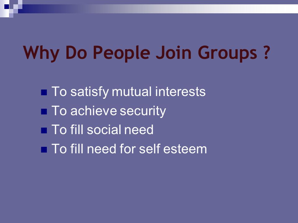 Why Do People Join Groups ? To satisfy mutual interests To achieve security To fill social need To fill need for self esteem