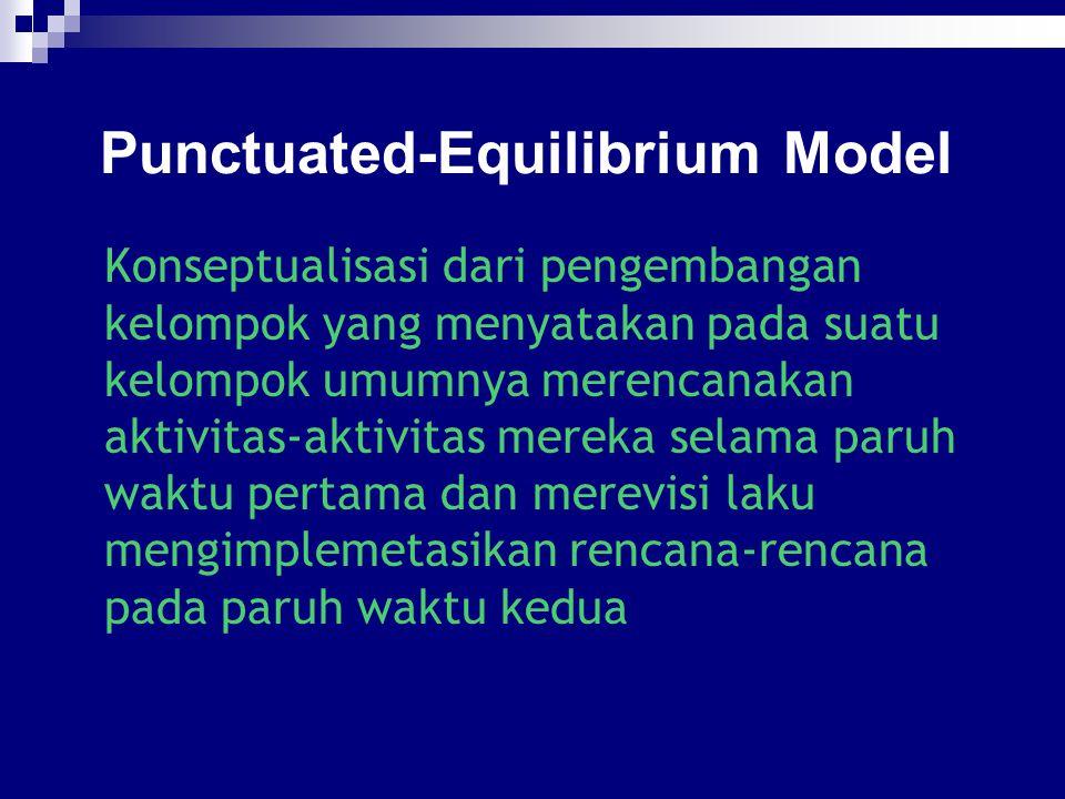 Punctuated-Equilibrium Model Konseptualisasi dari pengembangan kelompok yang menyatakan pada suatu kelompok umumnya merencanakan aktivitas-aktivitas m