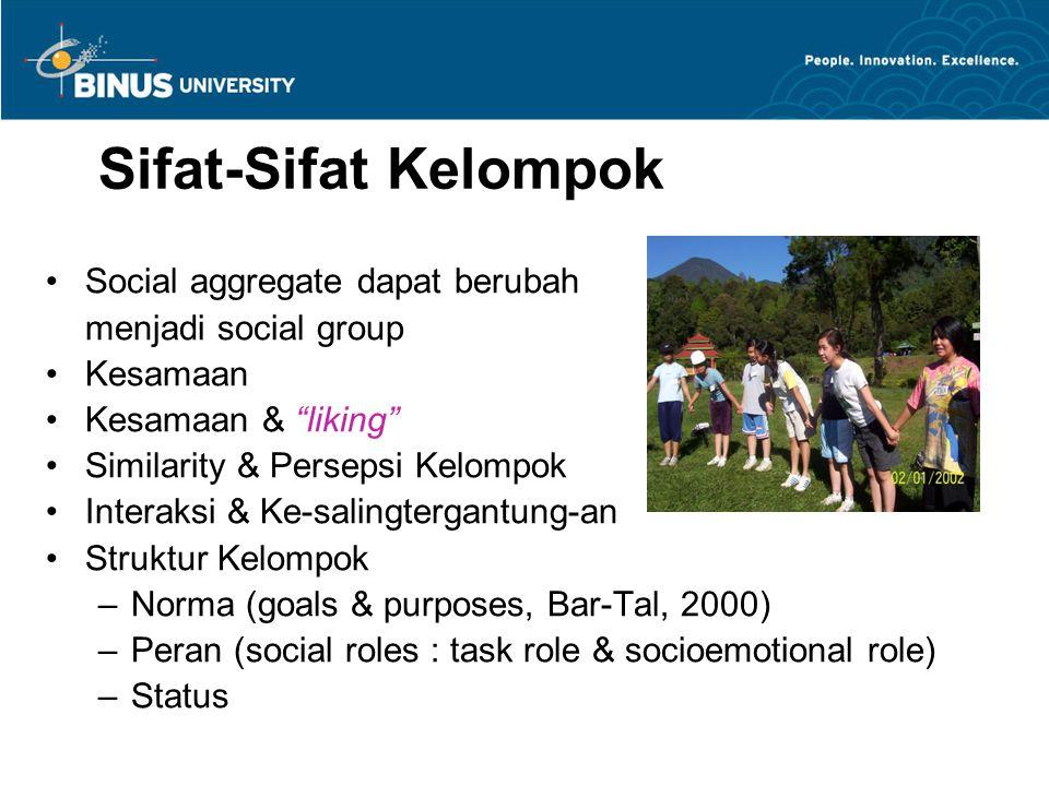 Entitativity (kesatuan/bagian dari…) groupinessDipakai untuk menyatakan groupiness = kelompok banget !!.