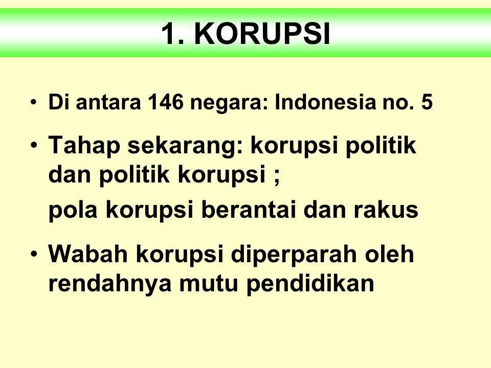 1.KORUPSI 2.KEKERASAN 3.KEHANCURAN LINGKUNGAN Tiga penyakit sosial bangsa Indonesia :