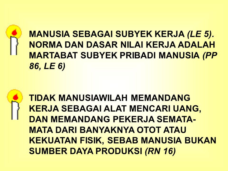 NILAI KERJA MANUSIA SANG CITRA ALLAH KERJA SEBAGAI KUNCI MASALAH SOSIAL (LE 3) SECARA LANGSUNG MENYANGKUT MARTABAT PRIBADI (RN 16, LE 9) DAN MASYARAKAT, KELUARGA DAN BANGSA (LE 10, 16).