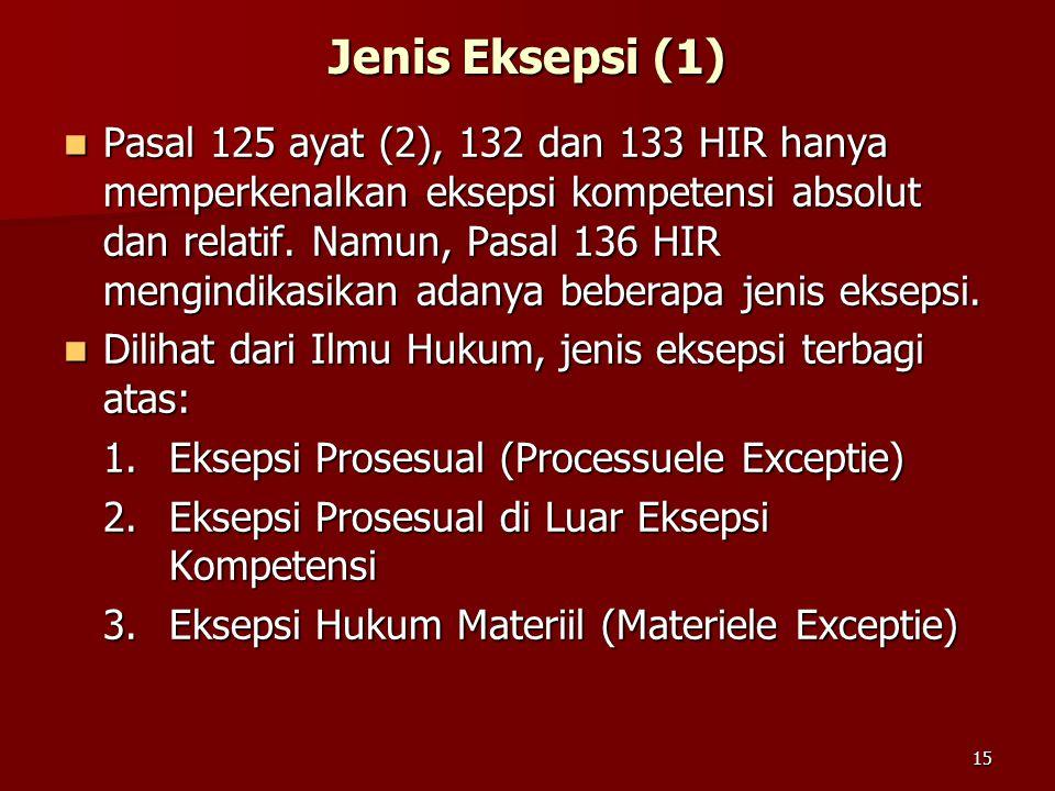 15 Jenis Eksepsi (1) Pasal 125 ayat (2), 132 dan 133 HIR hanya memperkenalkan eksepsi kompetensi absolut dan relatif. Namun, Pasal 136 HIR mengindikas