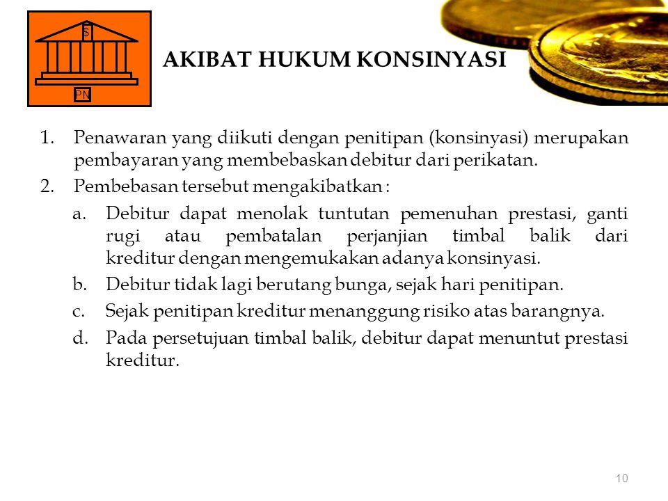 AKIBAT HUKUM KONSINYASI 1.Penawaran yang diikuti dengan penitipan (konsinyasi) merupakan pembayaran yang membebaskan debitur dari perikatan. 2.Pembeba