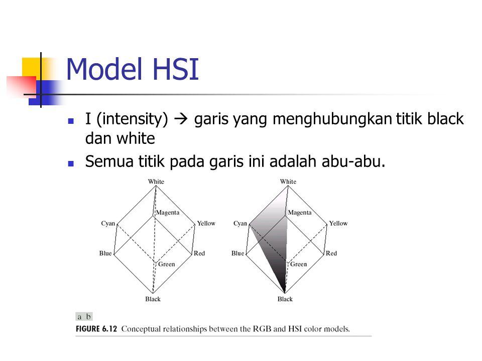 Model HSI I (intensity)  garis yang menghubungkan titik black dan white Semua titik pada garis ini adalah abu-abu.