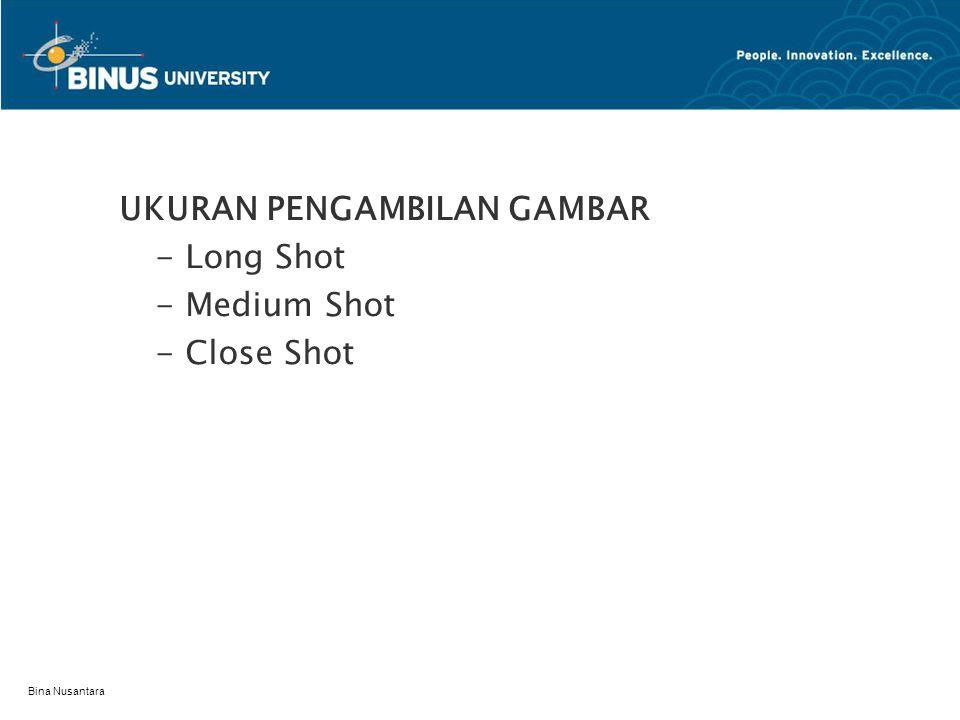Bina Nusantara TINGGI KAMERA - High Angle Shot - Normal/Eye Shot - Low Angle shot