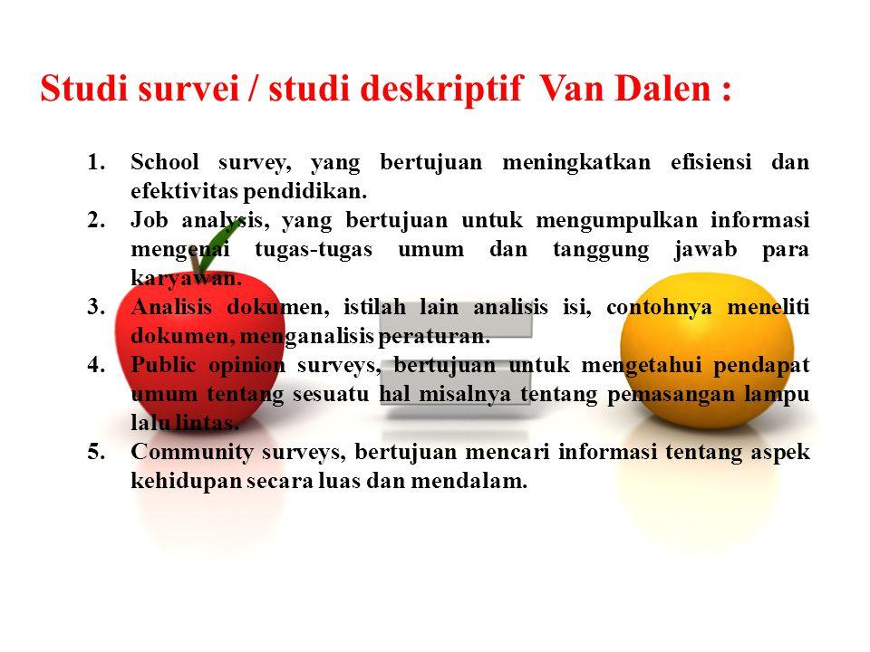 Studi survei / studi deskriptif Van Dalen : 1.School survey, yang bertujuan meningkatkan efisiensi dan efektivitas pendidikan. 2.Job analysis, yang be