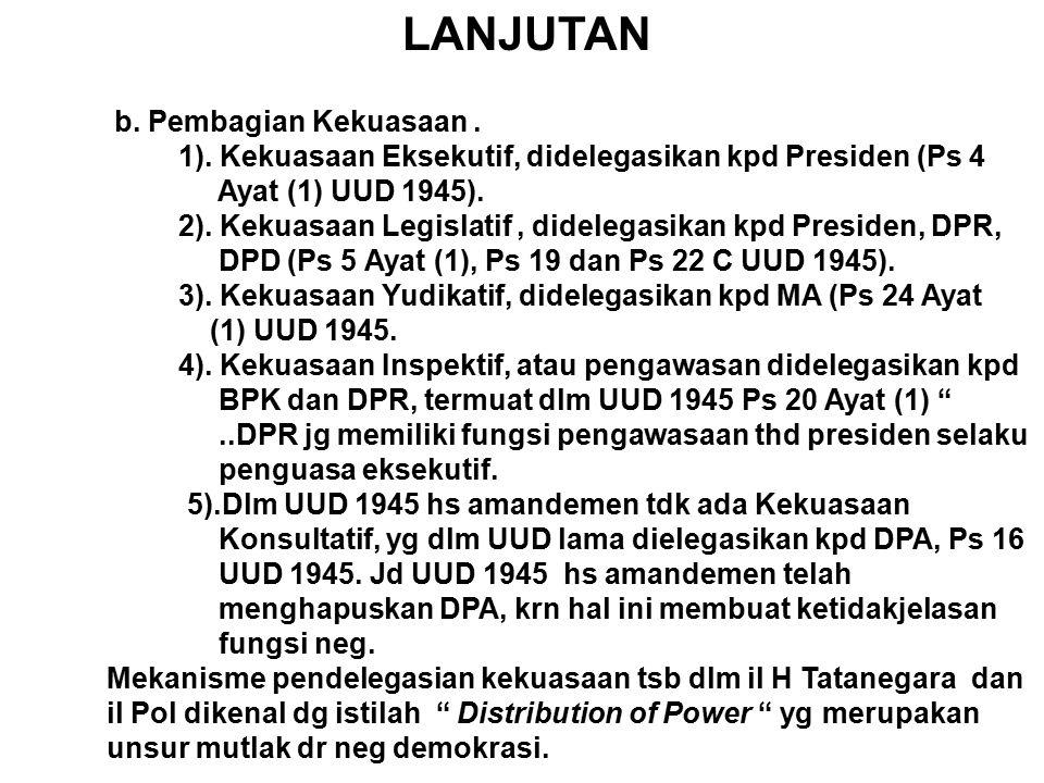 LANJUTAN C.Pembatasan Kekuasaan. Dpt dilihat melalui proses atau mekanisme 5 th an kekuasaan : 1).