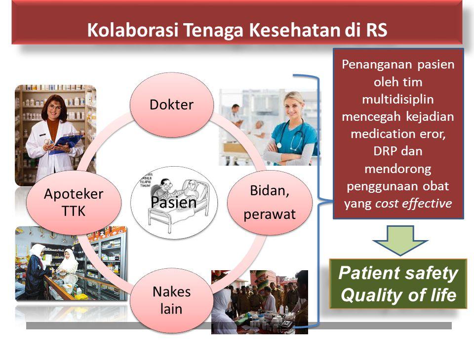 Kolaborasi Tenaga Kesehatan di RS Pasien Dokter Bidan, perawat Nakes lain Apoteker TTK Patient safety Quality of life Patient safety Quality of life P