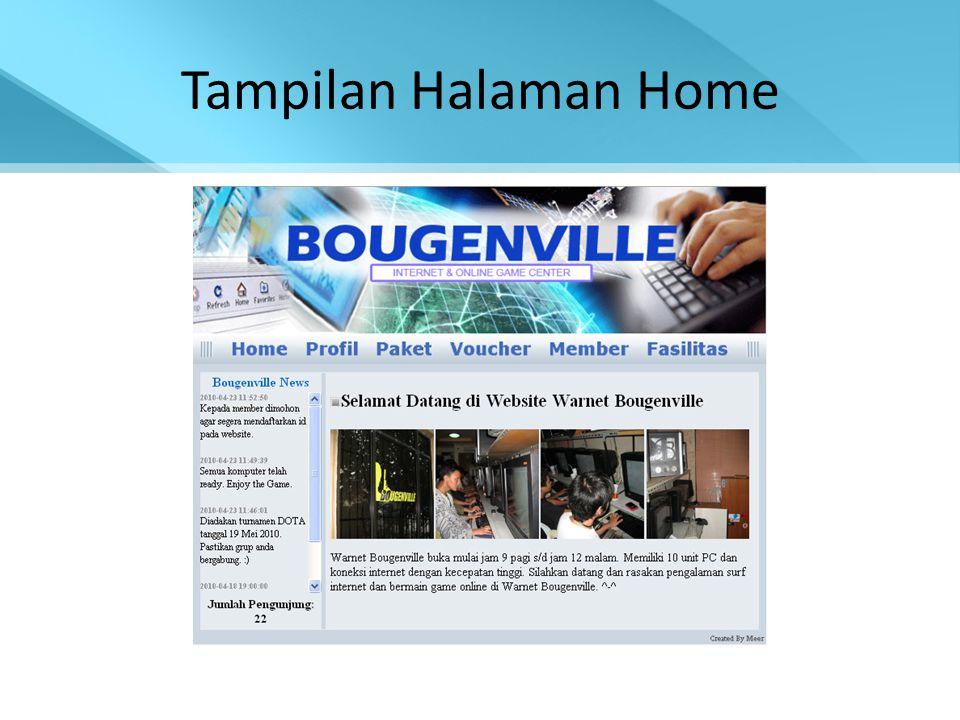 Tampilan Halaman Home