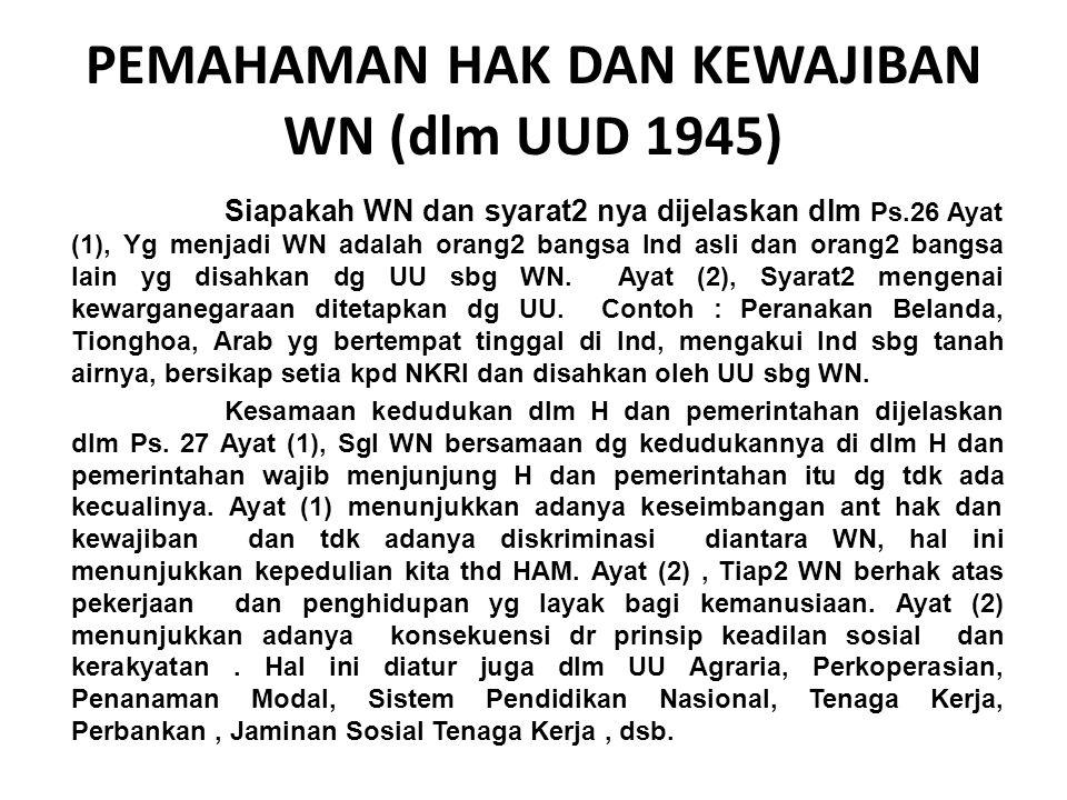 PEMAHAMAN HAK DAN KEWAJIBAN WN (dlm UUD 1945) Siapakah WN dan syarat2 nya dijelaskan dlm Ps.26 Ayat (1), Yg menjadi WN adalah orang2 bangsa Ind asli d