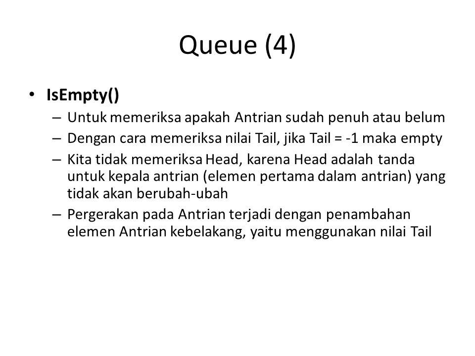 Queue (4) IsEmpty() – Untuk memeriksa apakah Antrian sudah penuh atau belum – Dengan cara memeriksa nilai Tail, jika Tail = -1 maka empty – Kita tidak