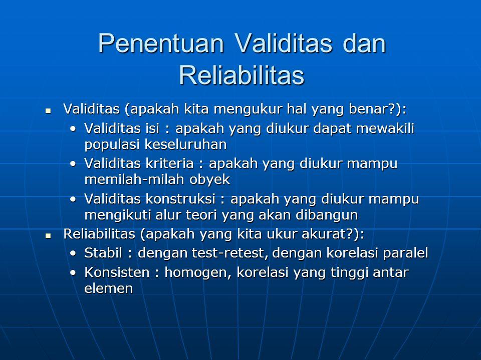 Penentuan Validitas dan Reliabilitas Validitas (apakah kita mengukur hal yang benar?): Validitas (apakah kita mengukur hal yang benar?): Validitas isi : apakah yang diukur dapat mewakili populasi keseluruhan Validitas kriteria : apakah yang diukur mampu memilah-milah obyek Validitas konstruksi : apakah yang diukur mampu mengikuti alur teori yang akan dibangun Reliabilitas (apakah yang kita ukur akurat?): Reliabilitas (apakah yang kita ukur akurat?): Stabil : dengan test-retest, dengan korelasi paralel Konsisten : homogen, korelasi yang tinggi antar elemen
