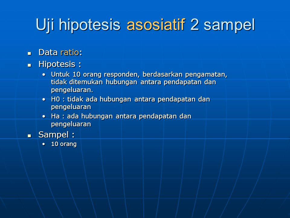 Uji hipotesis asosiatif 2 sampel Data ratio: Data ratio: Hipotesis : Hipotesis : Untuk 10 orang responden, berdasarkan pengamatan, tidak ditemukan hubungan antara pendapatan dan pengeluaran.