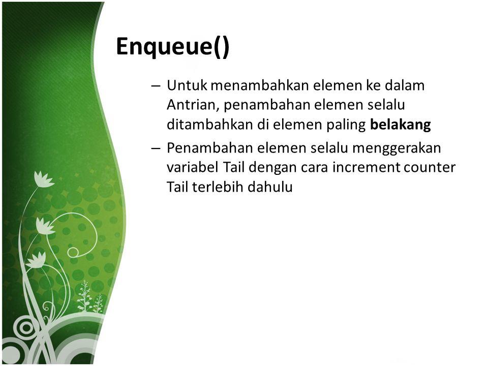 Enqueue() – Untuk menambahkan elemen ke dalam Antrian, penambahan elemen selalu ditambahkan di elemen paling belakang – Penambahan elemen selalu mengg