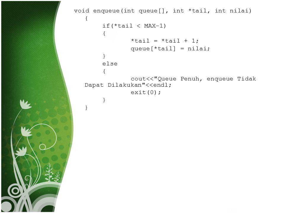 void enqueue(int queue[], int *tail, int nilai) { if(*tail < MAX-1) { *tail = *tail + 1; queue[*tail] = nilai; } else { cout<<