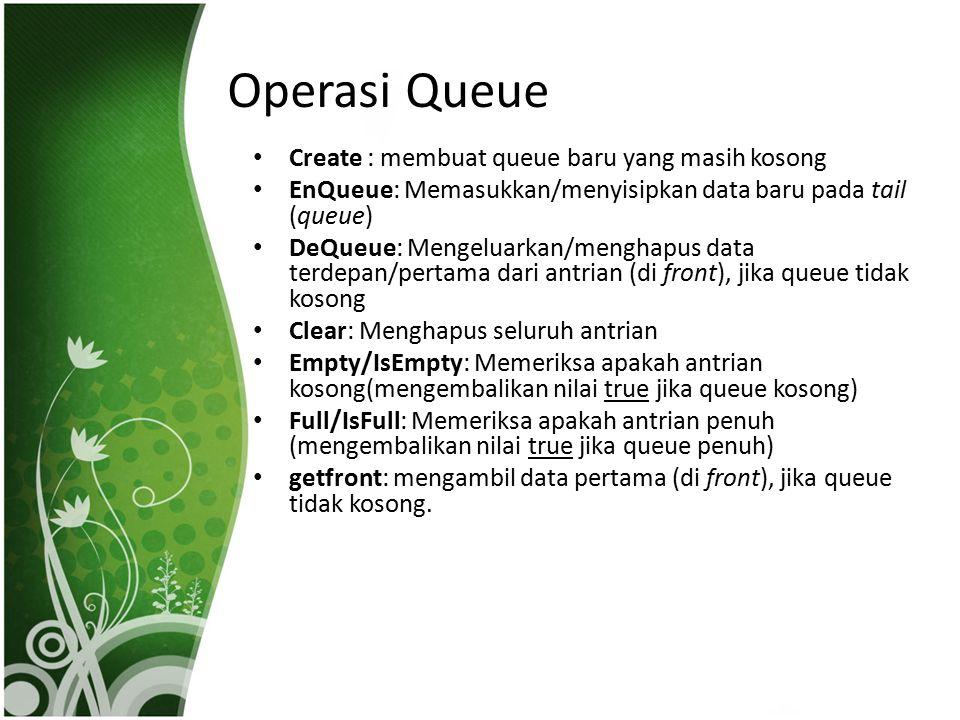 Operasi Queue Create : membuat queue baru yang masih kosong EnQueue: Memasukkan/menyisipkan data baru pada tail (queue) DeQueue: Mengeluarkan/menghapu