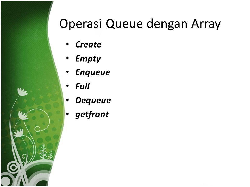 Operasi Queue dengan Array Create Empty Enqueue Full Dequeue getfront