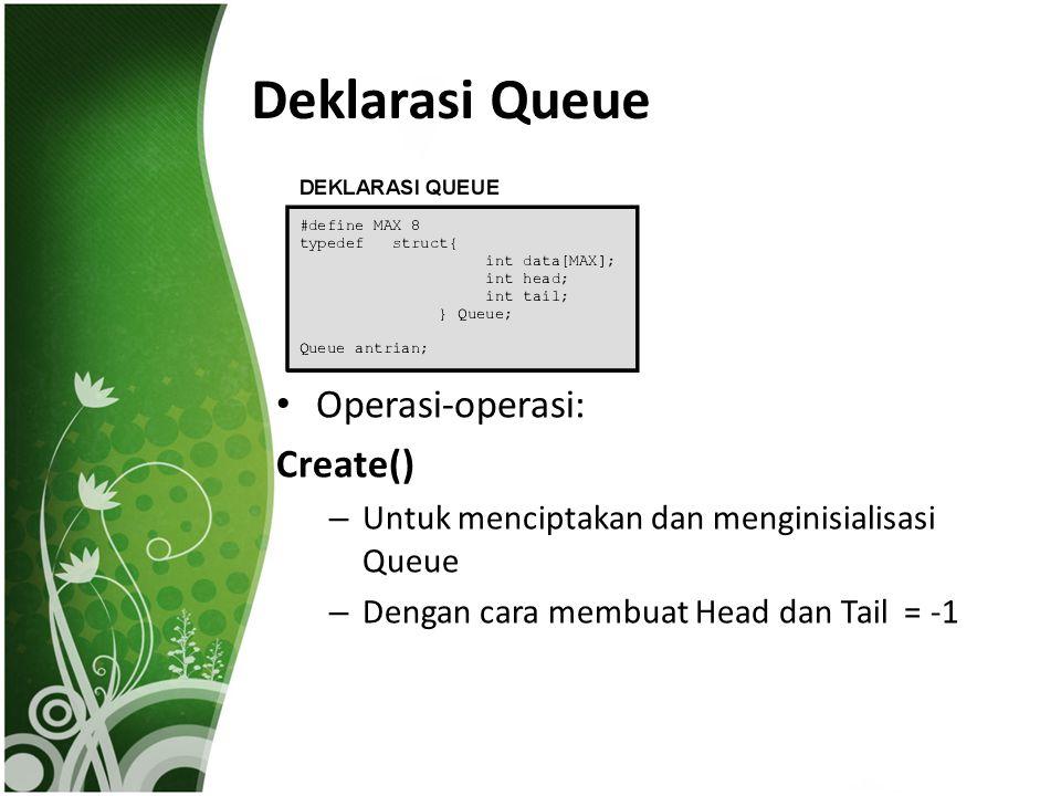 Deklarasi Queue Operasi-operasi: Create() – Untuk menciptakan dan menginisialisasi Queue – Dengan cara membuat Head dan Tail = -1