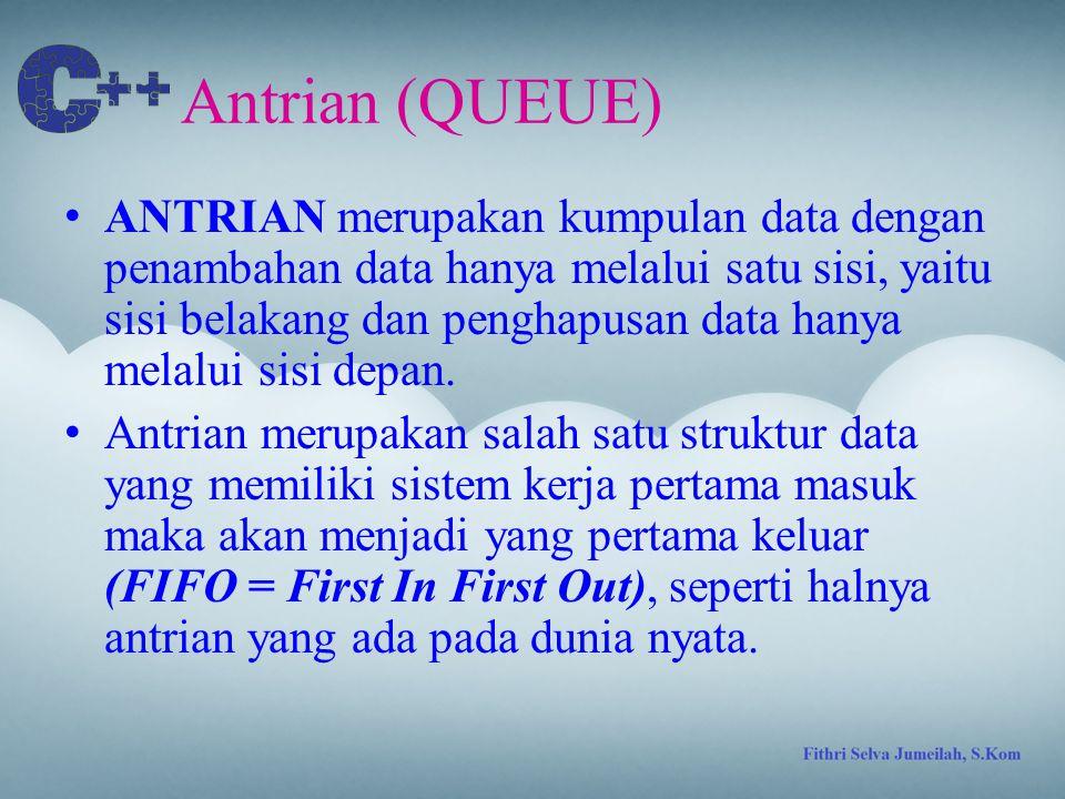Antrian (QUEUE) ANTRIAN merupakan kumpulan data dengan penambahan data hanya melalui satu sisi, yaitu sisi belakang dan penghapusan data hanya melalui sisi depan.