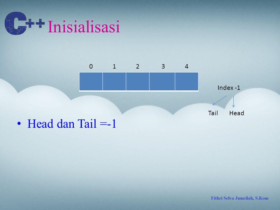 IsEmpty TailHead 01324 Index -1 If(Tail==-1 && Head==-1) return 0; Else return 1;