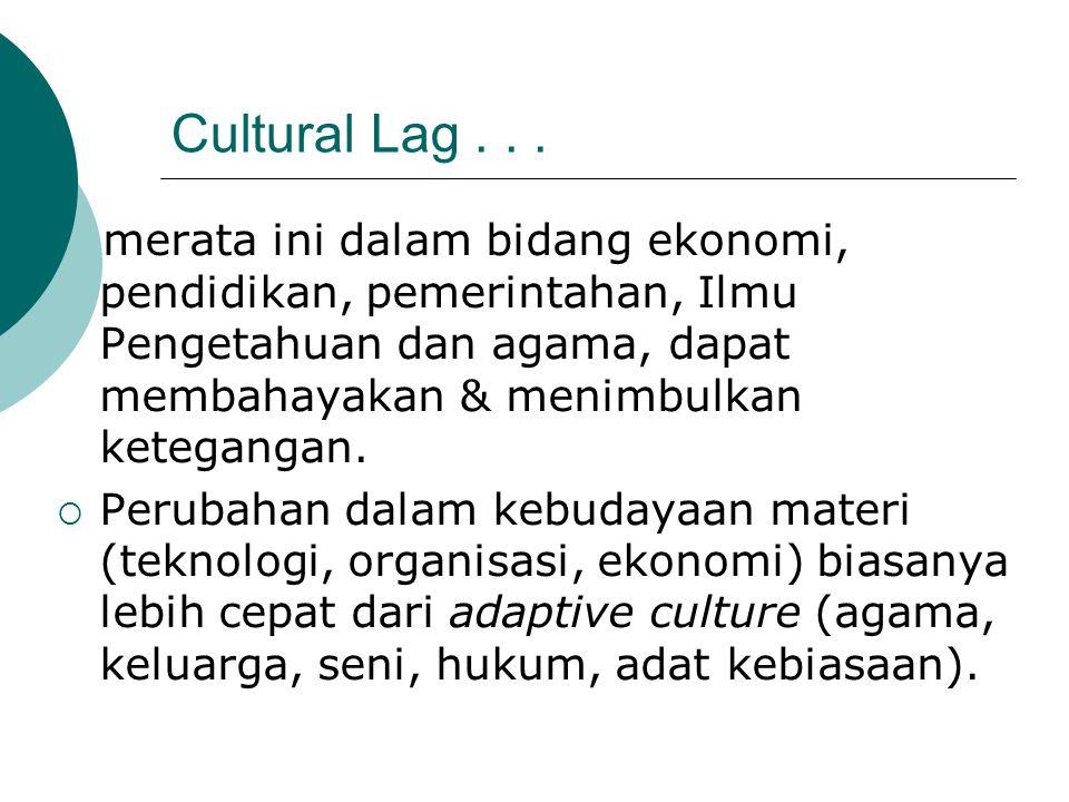 Cultural Lag... merata ini dalam bidang ekonomi, pendidikan, pemerintahan, Ilmu Pengetahuan dan agama, dapat membahayakan & menimbulkan ketegangan. 