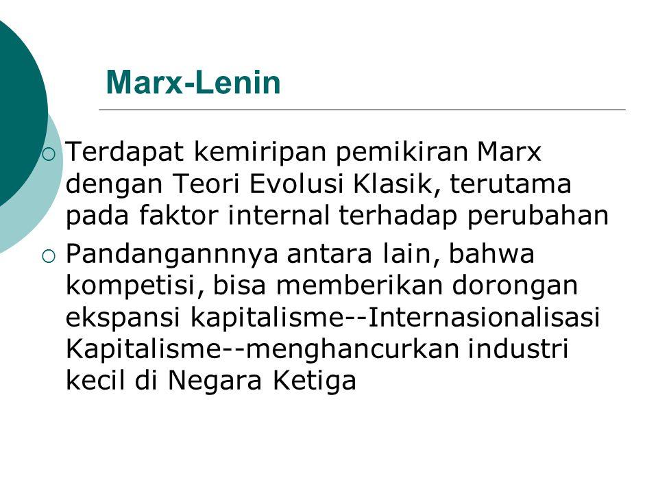 Marx-Lenin  Terdapat kemiripan pemikiran Marx dengan Teori Evolusi Klasik, terutama pada faktor internal terhadap perubahan  Pandangannnya antara la