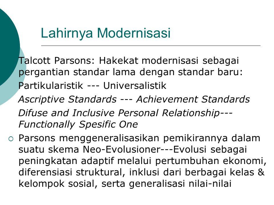 Lahirnya Modernisasi  Talcott Parsons: Hakekat modernisasi sebagai pergantian standar lama dengan standar baru: Partikularistik --- Universalistik As