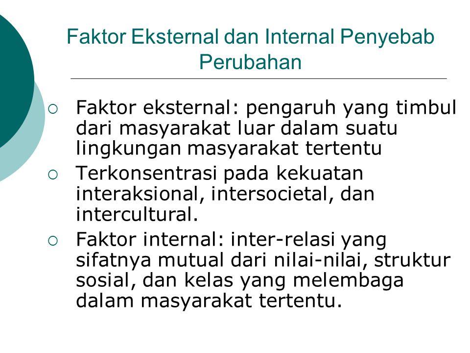 Faktor Eksternal dan Internal Penyebab Perubahan  Faktor eksternal: pengaruh yang timbul dari masyarakat luar dalam suatu lingkungan masyarakat terte