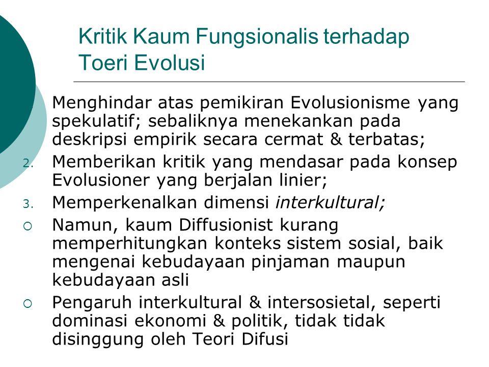 Kritik Kaum Fungsionalis terhadap Toeri Evolusi 1. Menghindar atas pemikiran Evolusionisme yang spekulatif; sebaliknya menekankan pada deskripsi empir