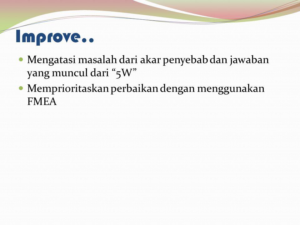 "Improve.. Mengatasi masalah dari akar penyebab dan jawaban yang muncul dari ""5W"" Memprioritaskan perbaikan dengan menggunakan FMEA"