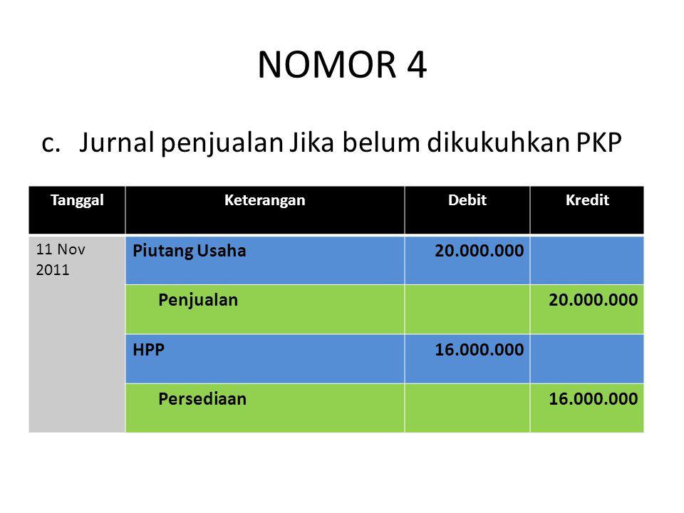 NOMOR 4 c.Jurnal penjualan Jika belum dikukuhkan PKP TanggalKeteranganDebitKredit 11 Nov 2011 Piutang Usaha20.000.000 Penjualan20.000.000 HPP16.000.00