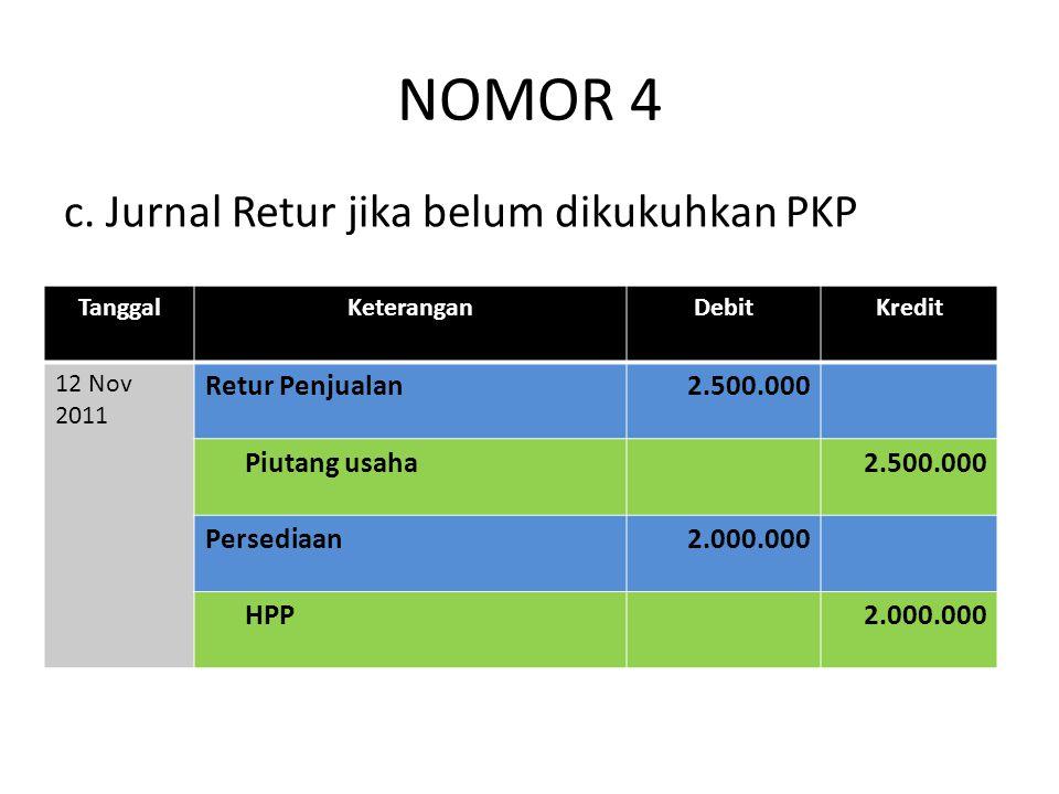 NOMOR 4 c. Jurnal Retur jika belum dikukuhkan PKP TanggalKeteranganDebitKredit 12 Nov 2011 Retur Penjualan2.500.000 Piutang usaha2.500.000 Persediaan2