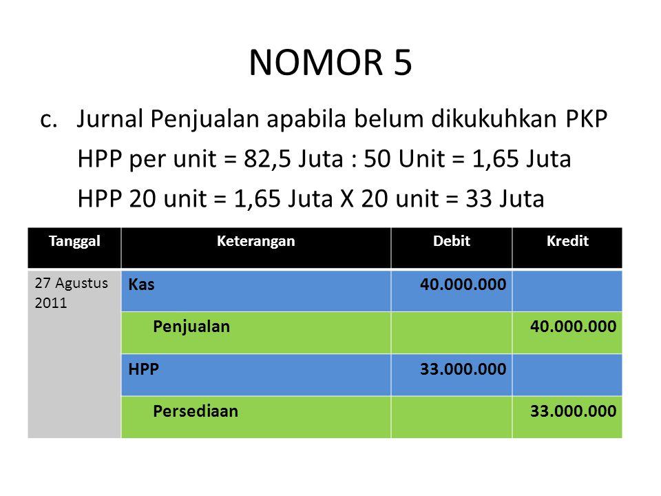 NOMOR 5 c.Jurnal Penjualan apabila belum dikukuhkan PKP HPP per unit = 82,5 Juta : 50 Unit = 1,65 Juta HPP 20 unit = 1,65 Juta X 20 unit = 33 Juta Tan