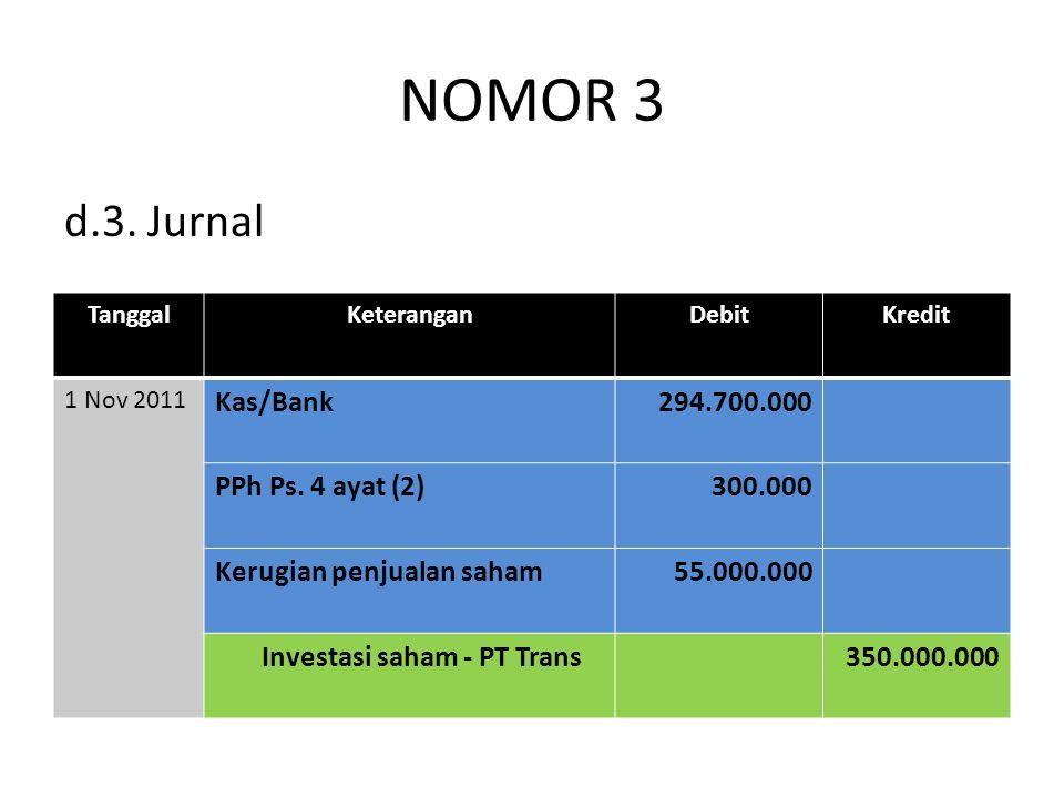 NOMOR 3 d.3. Jurnal TanggalKeteranganDebitKredit 1 Nov 2011 Kas/Bank294.700.000 PPh Ps. 4 ayat (2)300.000 Kerugian penjualan saham55.000.000 Investasi