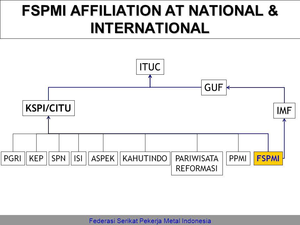 Federasi Serikat Pekerja Metal Indonesia FSPMI AFFILIATION AT NATIONAL & INTERNATIONAL KSPI/CITU FSPMI IMF ISIKEPPGRISPNPARIWISATA REFORMASI KAHUTINDO