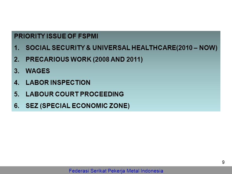Federasi Serikat Pekerja Metal Indonesia PRIORITY ISSUE OF FSPMI 1.SOCIAL SECURITY & UNIVERSAL HEALTHCARE(2010 – NOW) 2.PRECARIOUS WORK (2008 AND 2011