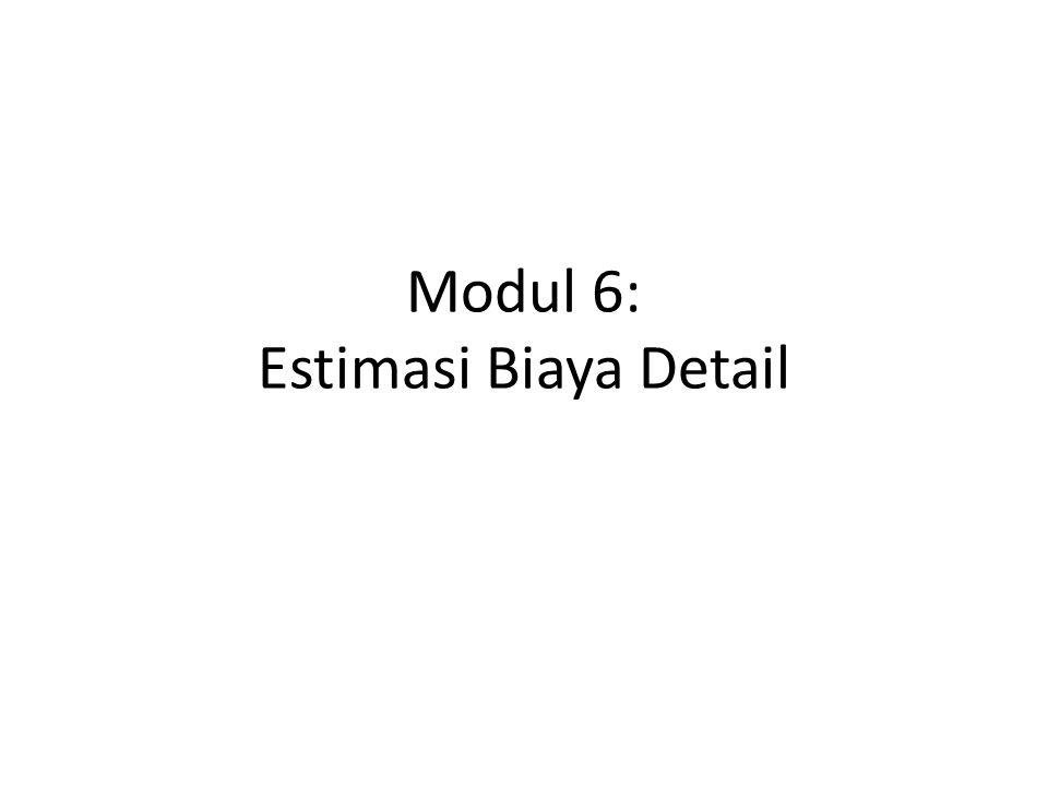 ISI MODUL 6: Estimasi Biaya Detail Komponen Estimasi Biaya Langkah-langkah Estimasi Detail WBS dan QTO Metoda Estimasi Detail Catatan tentang EE, OE, dan Harga Penawaran Kontraktor 2