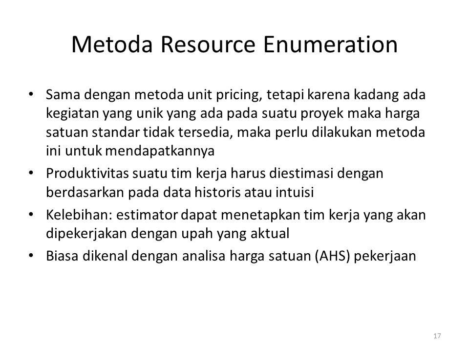 Metoda Resource Enumeration Sama dengan metoda unit pricing, tetapi karena kadang ada kegiatan yang unik yang ada pada suatu proyek maka harga satuan