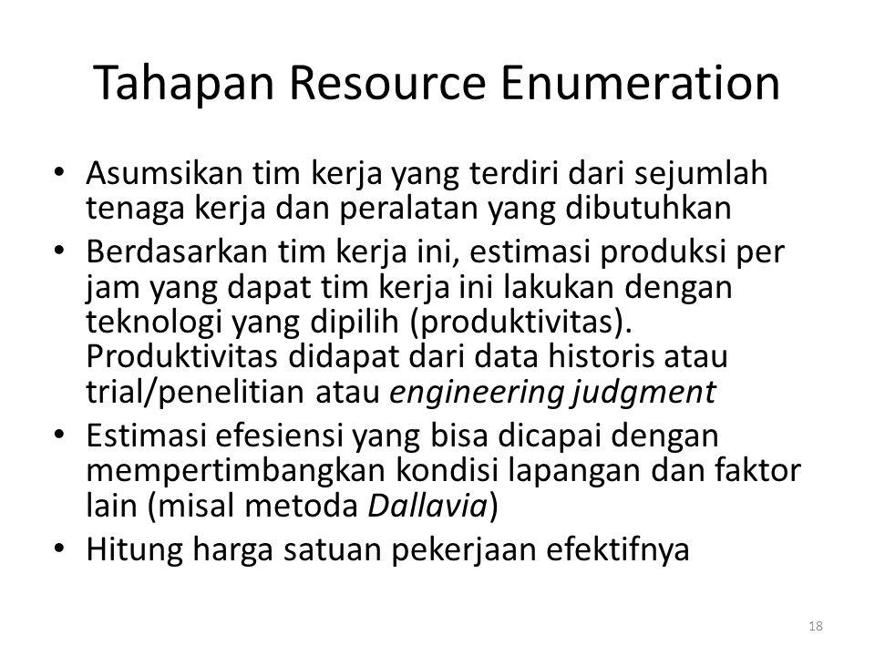 Tahapan Resource Enumeration Asumsikan tim kerja yang terdiri dari sejumlah tenaga kerja dan peralatan yang dibutuhkan Berdasarkan tim kerja ini, esti