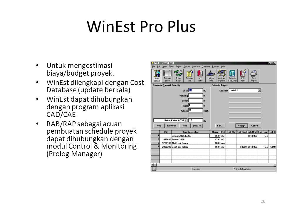 WinEst Pro Plus Untuk mengestimasi biaya/budget proyek. WinEst dilengkapi dengan Cost Database (update berkala) WinEst dapat dihubungkan dengan progra