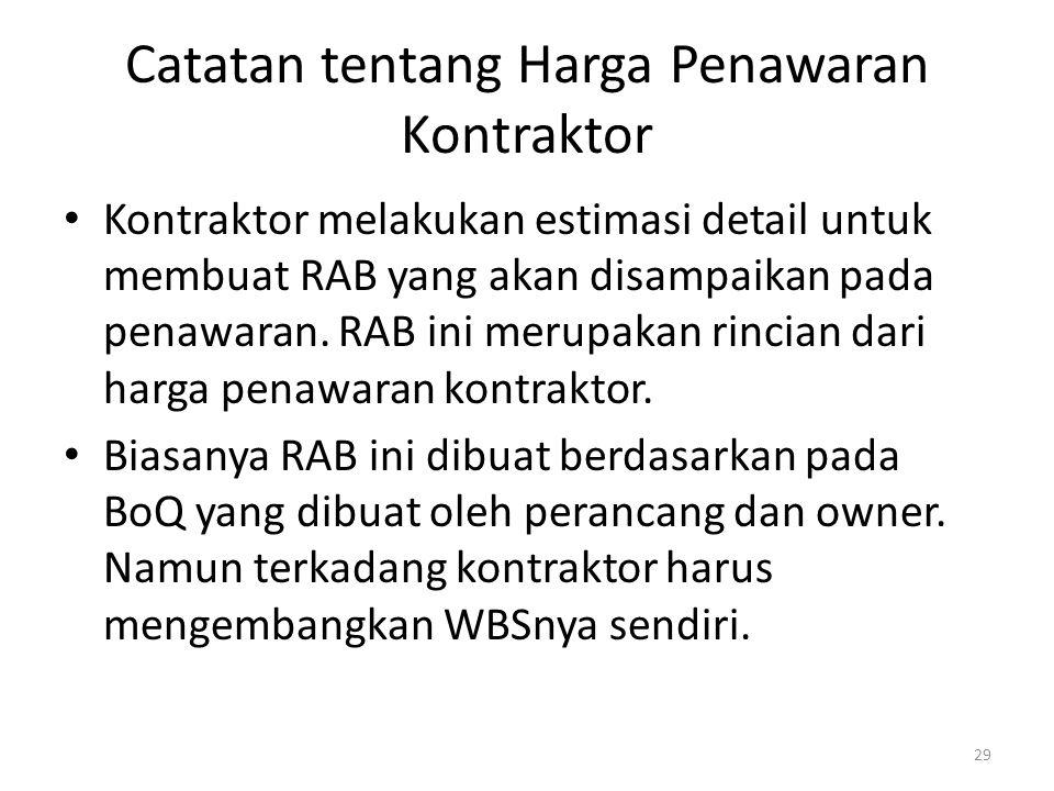 Catatan tentang Harga Penawaran Kontraktor Kontraktor melakukan estimasi detail untuk membuat RAB yang akan disampaikan pada penawaran. RAB ini merupa
