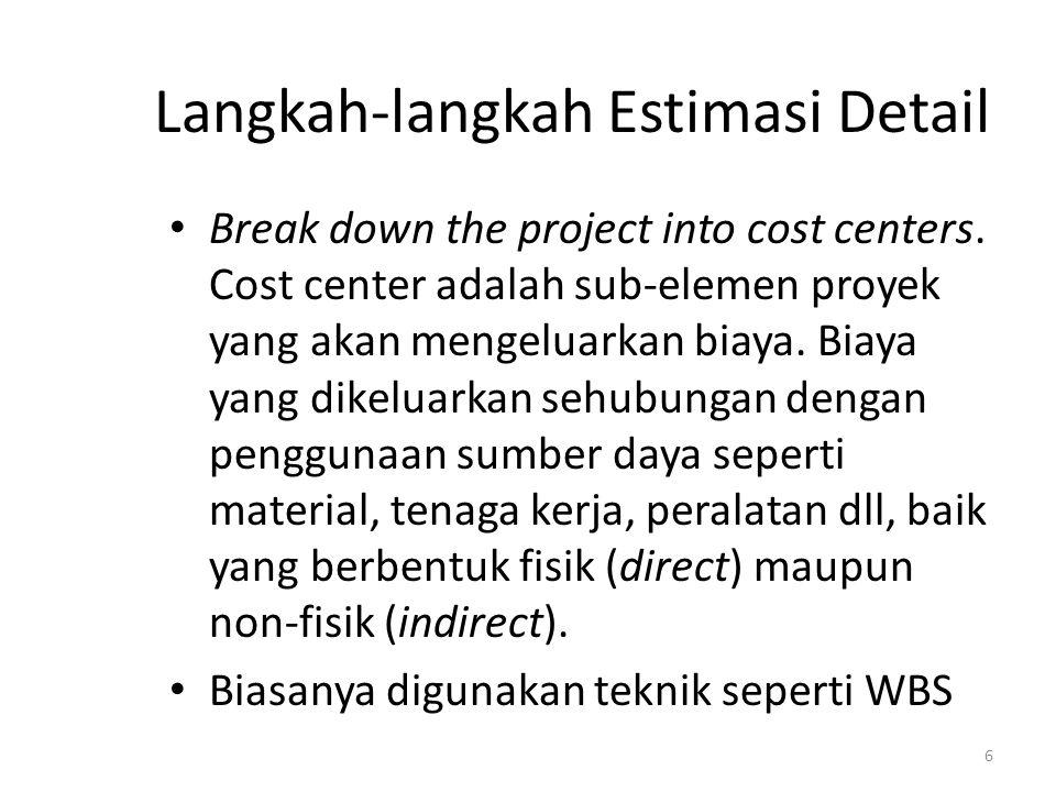 Langkah-langkah Estimasi Detail Break down the project into cost centers. Cost center adalah sub-elemen proyek yang akan mengeluarkan biaya. Biaya yan