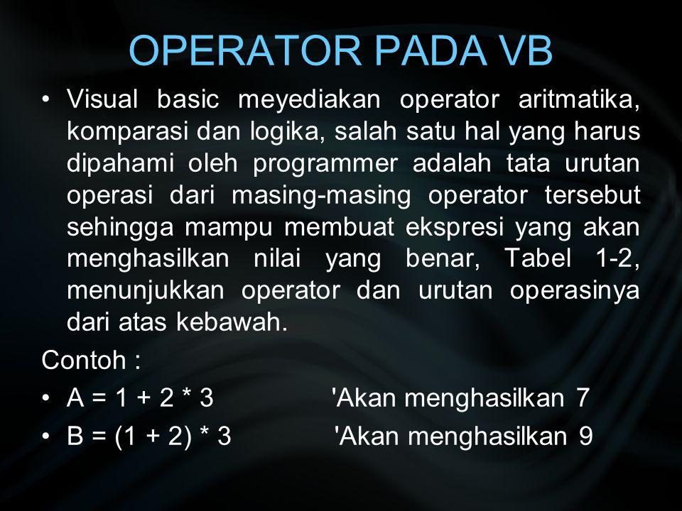 OPERATOR PADA VB Visual basic meyediakan operator aritmatika, komparasi dan logika, salah satu hal yang harus dipahami oleh programmer adalah tata uru