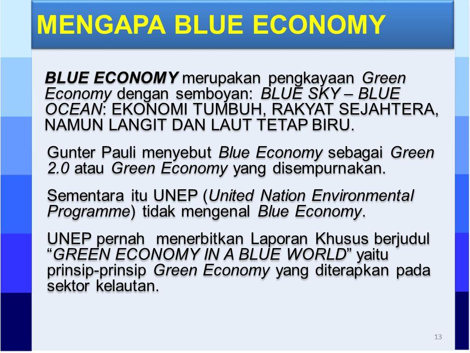 BLUE ECONOMY merupakan pengkayaan Green Economy dengan semboyan: BLUE SKY – BLUE OCEAN: EKONOMI TUMBUH, RAKYAT SEJAHTERA, NAMUN LANGIT DAN LAUT TETAP BIRU.
