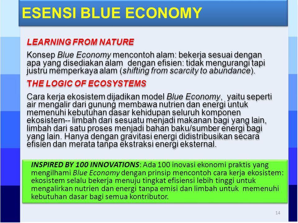 ESENSI BLUE ECONOMY 14 LEARNING FROM NATURE Konsep Blue Economy mencontoh alam: bekerja sesuai dengan apa yang disediakan alam dengan efisien: tidak mengurangi tapi justru memperkaya alam (shifting from scarcity to abundance).