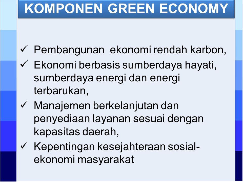 KOMPONEN GREEN ECONOMY Pembangunan ekonomi rendah karbon, Ekonomi berbasis sumberdaya hayati, sumberdaya energi dan energi terbarukan, Manajemen berkelanjutan dan penyediaan layanan sesuai dengan kapasitas daerah, Kepentingan kesejahteraan sosial- ekonomi masyarakat