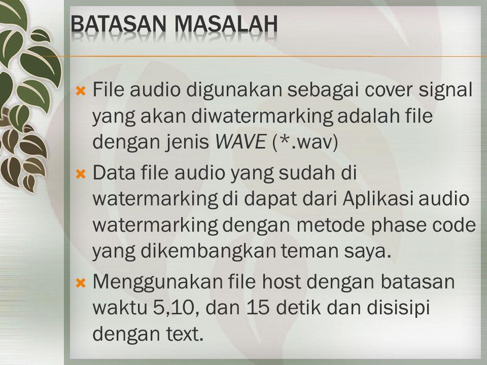  File audio digunakan sebagai cover signal yang akan diwatermarking adalah file dengan jenis WAVE (*.wav)  Data file audio yang sudah di watermarking di dapat dari Aplikasi audio watermarking dengan metode phase code yang dikembangkan teman saya.